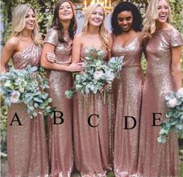 8c32b288a7b Mismatched Rose Gold Sequin Long Bridesmaid Dresses