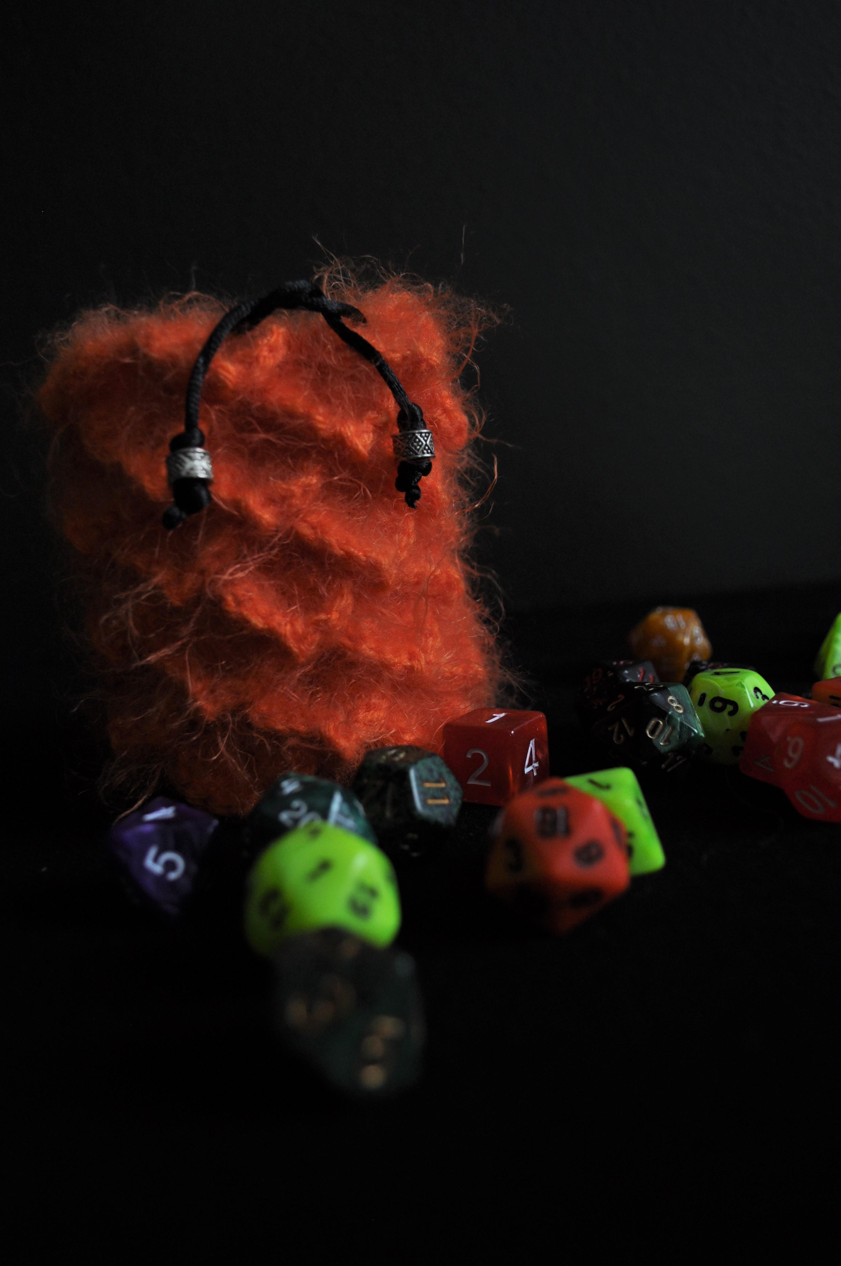 Dice Bag Orange Fuzzy Dragon Egg Woolenhook Online Store
