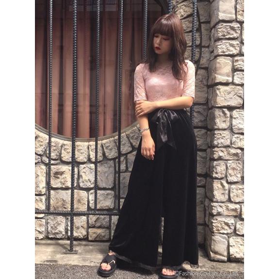 Kpop Trend Velutum Bow Tie Wide Leg Pants Plus Size Belt Trousers SS16