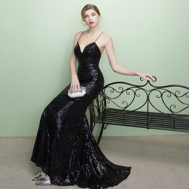 7441b0e99e480 Sparkly black sequins prom dress,lace up back prom dress,spaghetti strap prom  dress