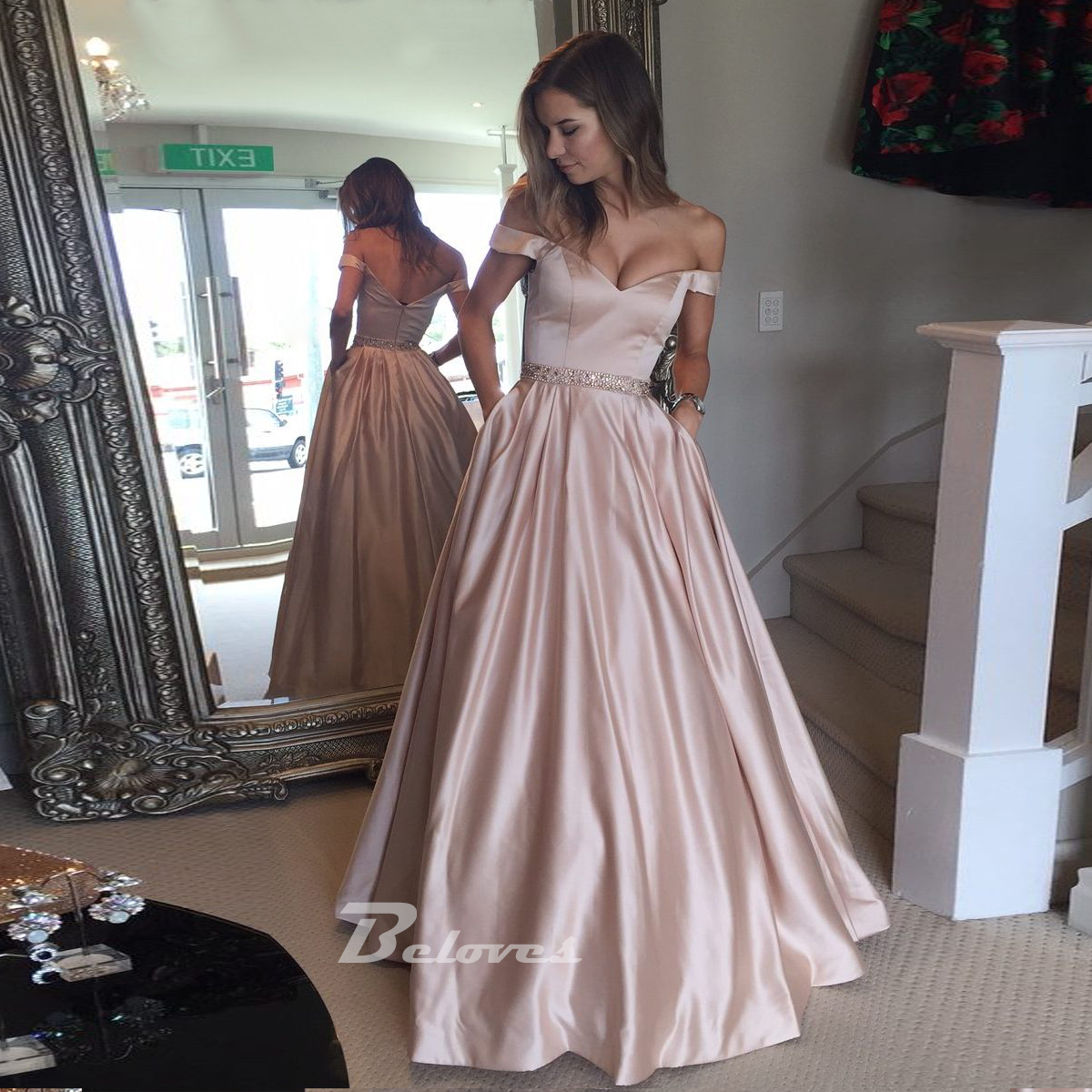 8706eb9bdcf 2017 Pink Off The Shoulder Prom Dress