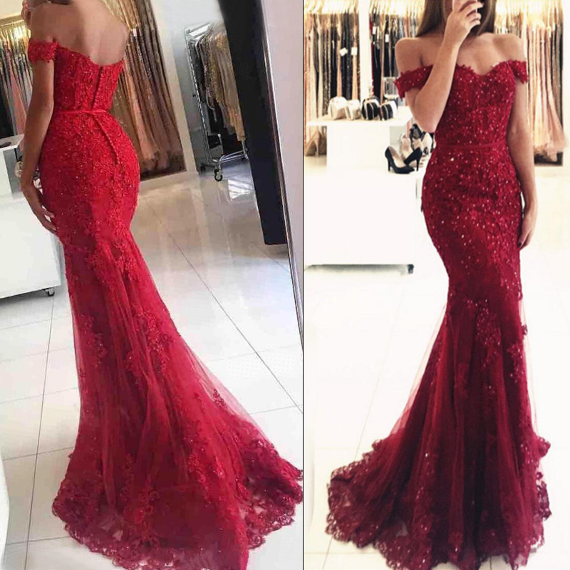 551ef455631 Red Mermaid Off Shoulder Lace Beaded Prom Evening Dresses