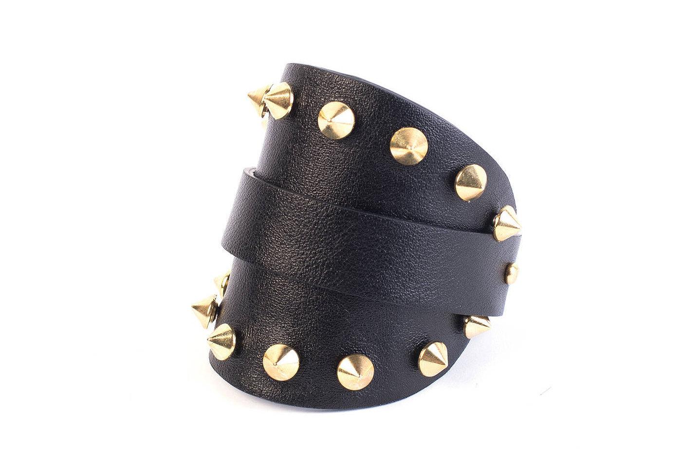 2e257e80a Rustic cuff bracelet, Studded bracelet, Black leather cuff bracelet ...
