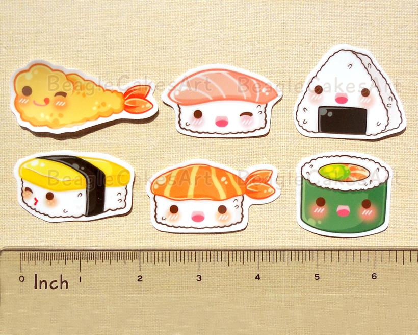 Cute Japanese Food Stickers. Ramen Noodle. Mochi. Sushi ...