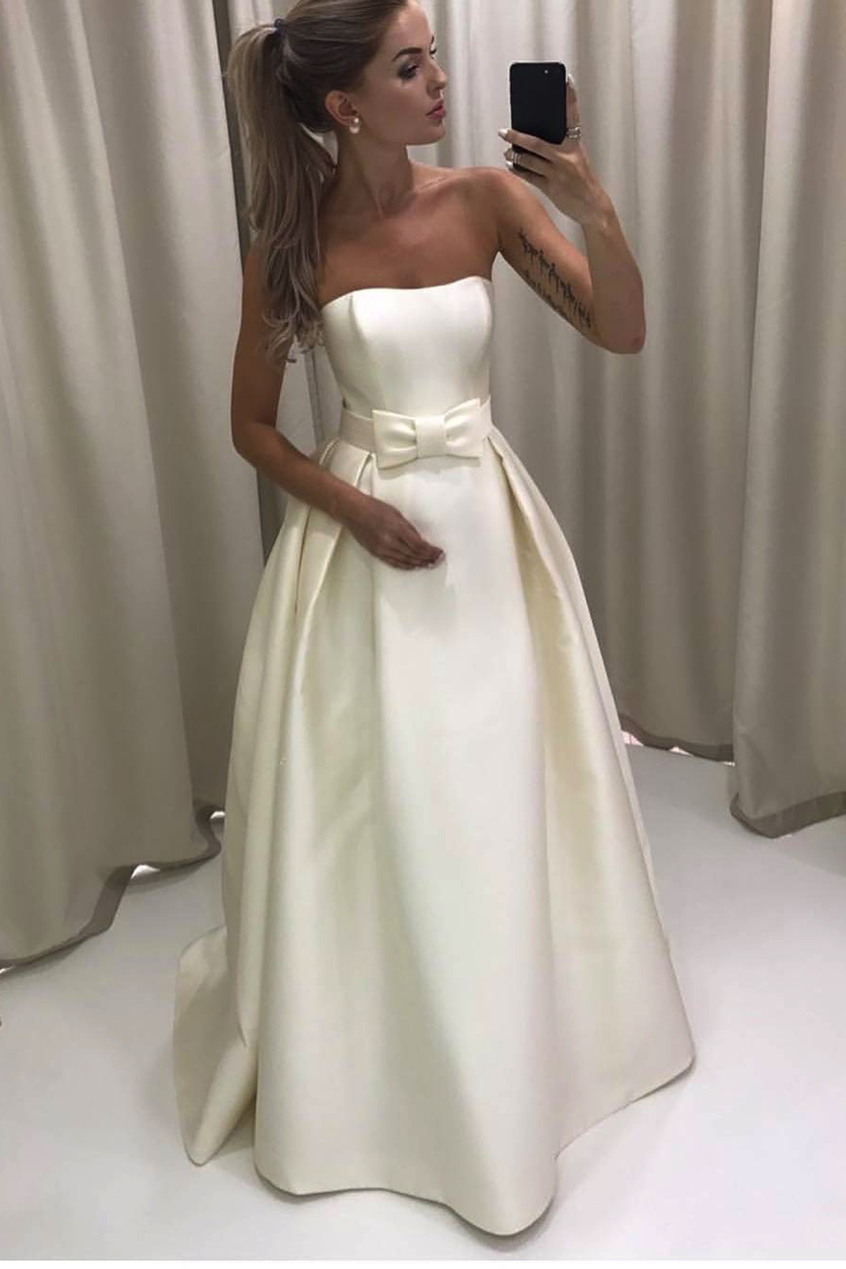 de0f71b84109 Ivory satin strapless long A-line sweet 16 prom dress with bowknot ...