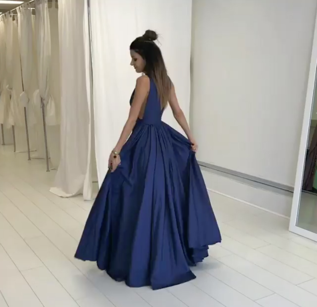 0d89dda2d2d ... Sexy Navy Blue A-line Deep V Neck Long Prom Gown With V Back ...