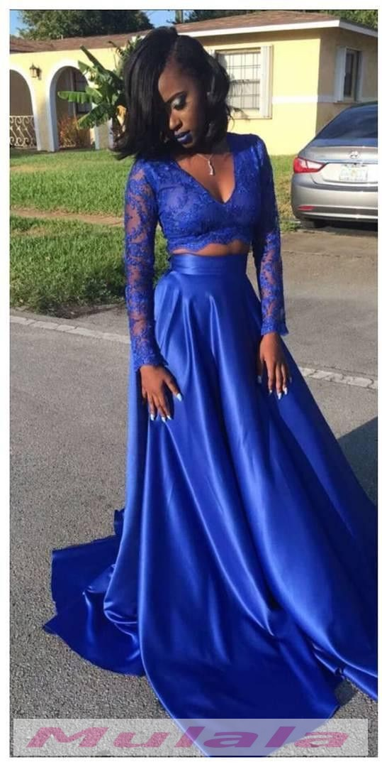 royal blue two piece prom dresses2018 long sleeves black
