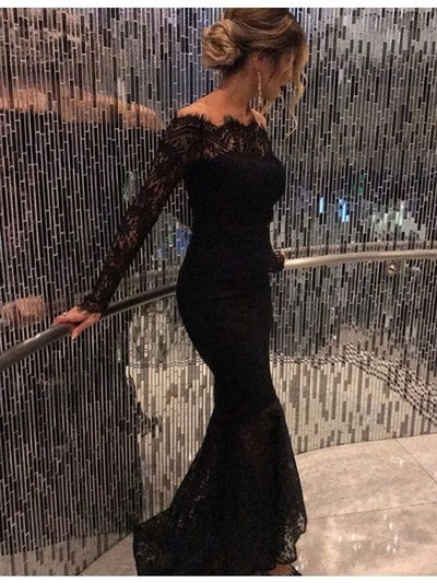 3f63d41a652b Off Shoulder Black Long Sleeves Long Mermaid Prom Dresses,HS203 ...