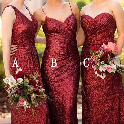 28b74937b2 Cheap mismatched dark red sequin long bridesmaid dresses