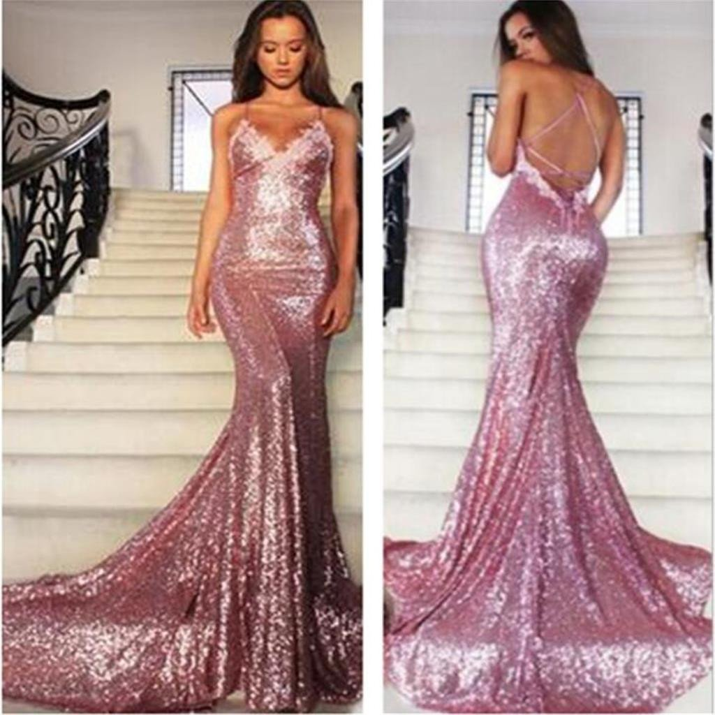 Sexy Sequin Long Mermaid Sparkly Prom Dress Evening Prom Dresses