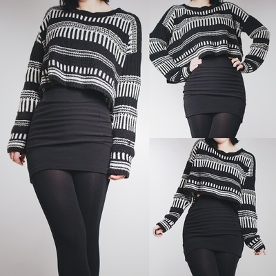 Reserved for  sweet liv3 - black and white striped chunky knit cropped  sweater - Thumbnail 15a25eff4