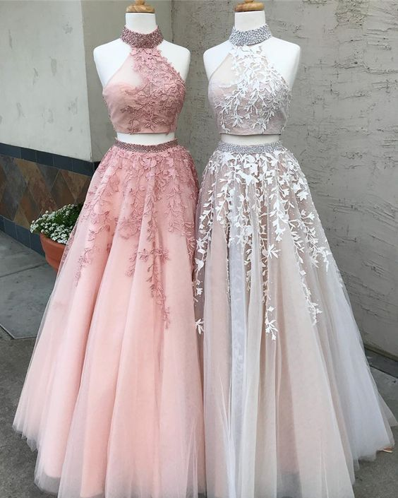53e3a6f4076 Two Piece Long Prom Dress
