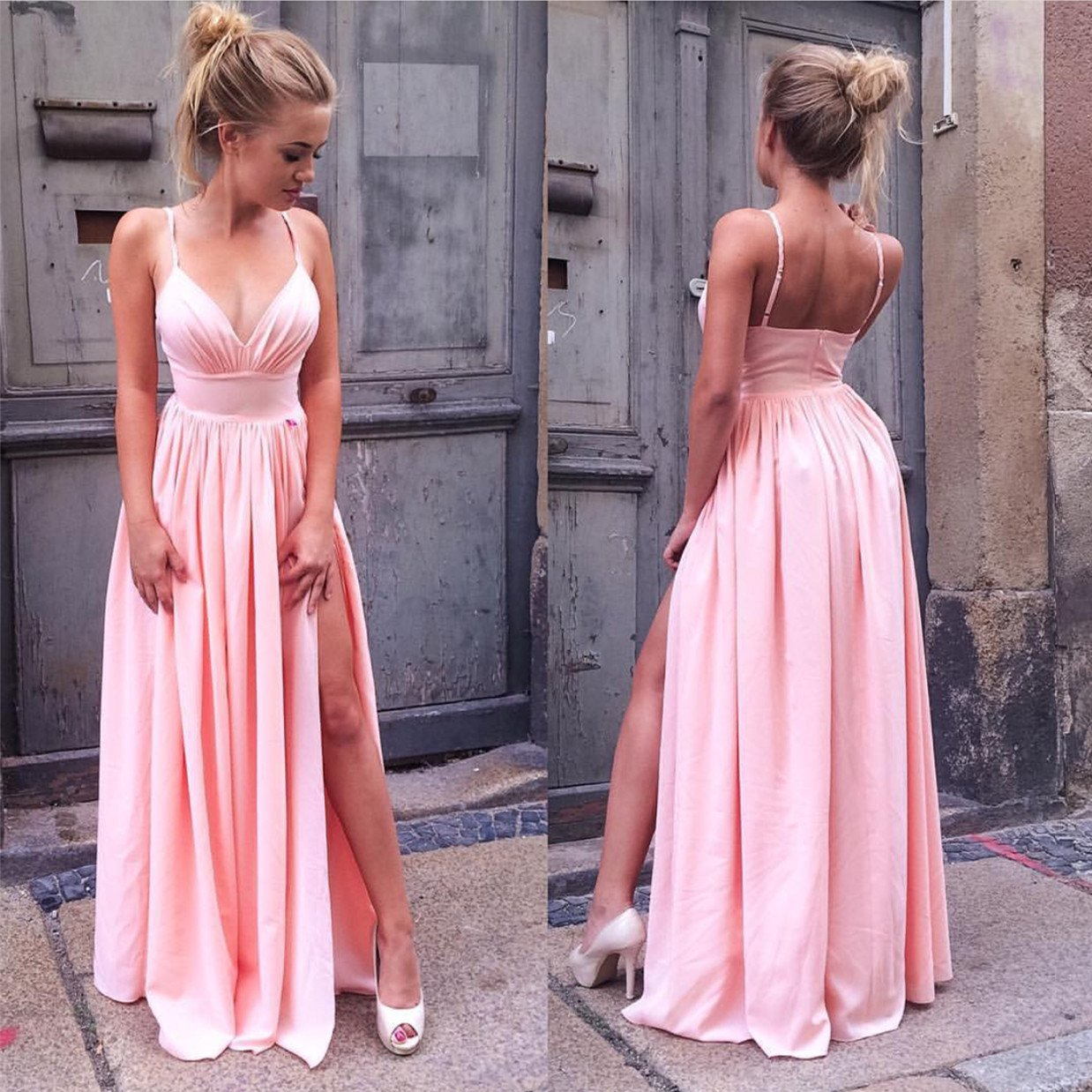Simply Straps Pink Long Prom Dresses Evening Gowns with Side Slit ...