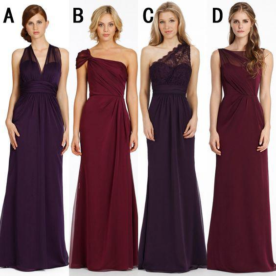 Cheap Mismatched Chiffon Long Bridesmaid Dresses, Affordable Unique ...