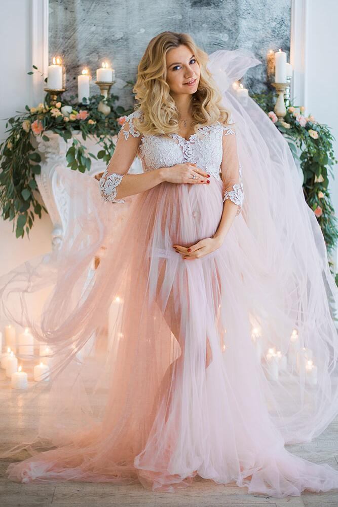 7da2671ee360 Sexy Pregnant Lace Tulle Evening Dress,3/4 Sleeve Illusion Maternity Prom  Dress