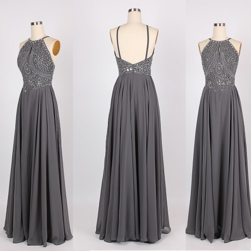 A96 New Arrival Long Gray Prom Dresses,Backless Beading Spaghetti ...