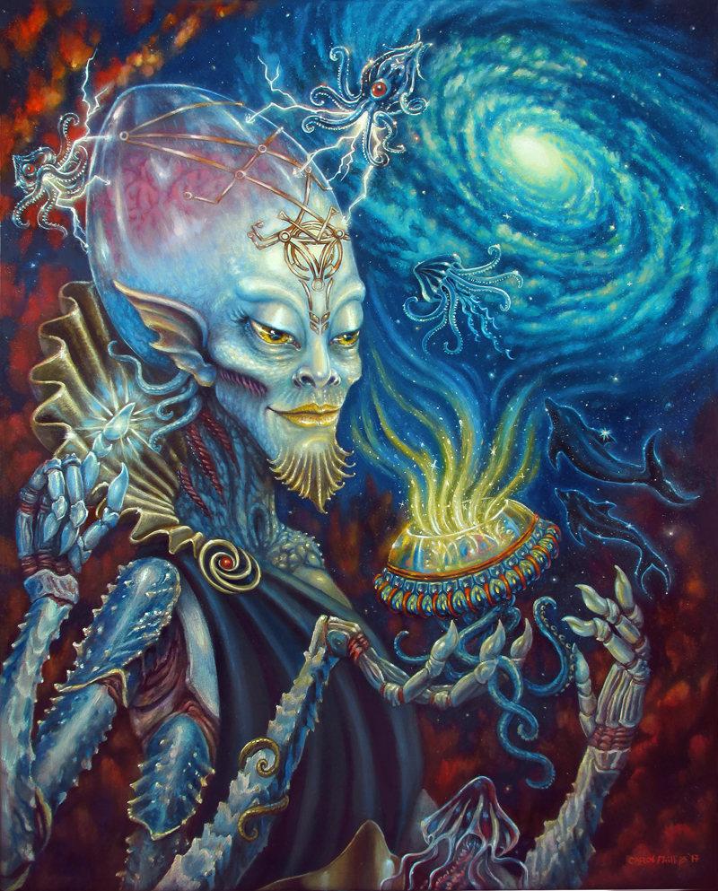 King Of Cups Print Sci Fi Painting Alien Artwork Bizarre