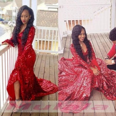 08c9db4ad1f Burgundy sequined prom dresses long sleeves evening dress african style black  girl high low mermaid party