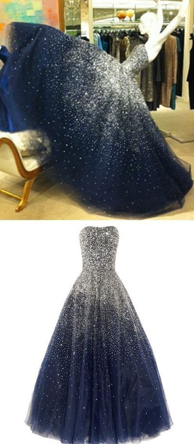 f618c7f1d1b Princess Ball Gown Strapless Navy Blue Prom Dress With Sparkle Sequins  Corset Back Tulle Long Dark