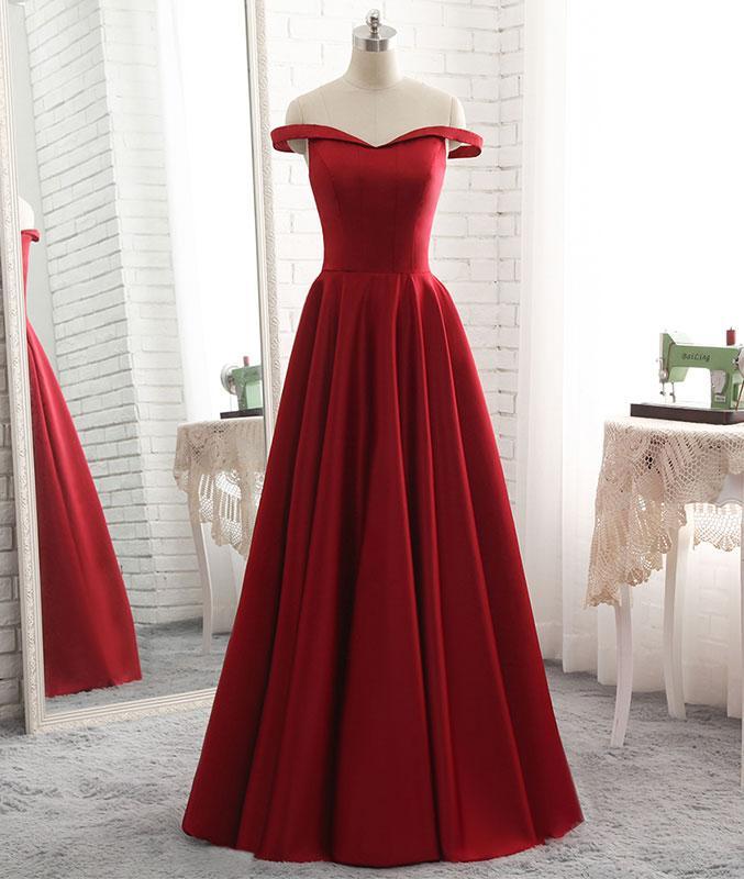 1ed190eea1e5 Elegant A-Line Off-the-Shoulder Red Satin Floor Length Prom/Evening Dress  on Storenvy