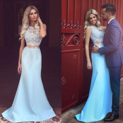 Light Blue Two Pieces Satin Evening Dress White Lace See