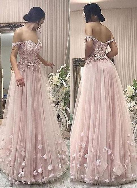 Stylish A Line Off Shoulder Pink Tulle Long Prom Evening