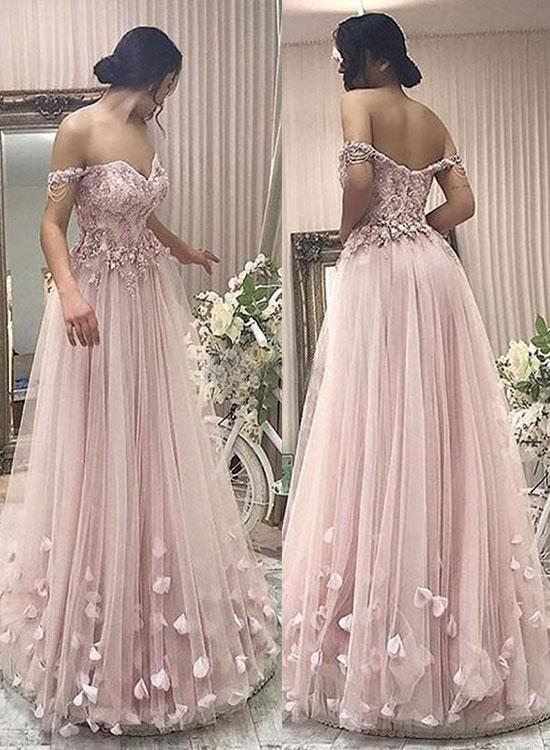 bc6de72a15 Stylish A-Line Off-Shoulder Pink Tulle Long Prom/Evening Dress with ...