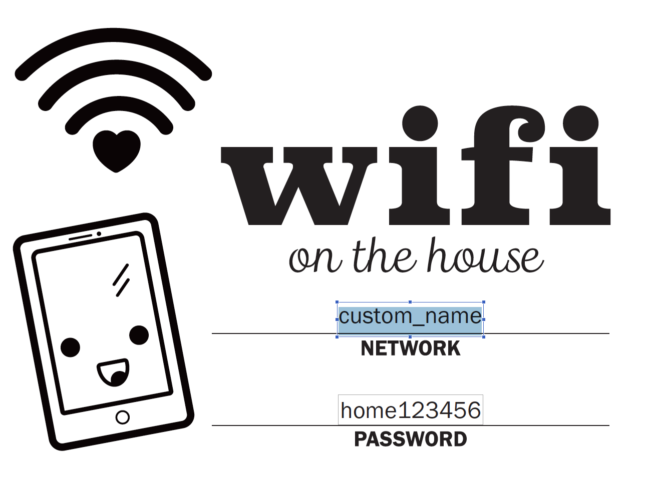 It is an image of Free Printable Wifi Password Template with regard to decor