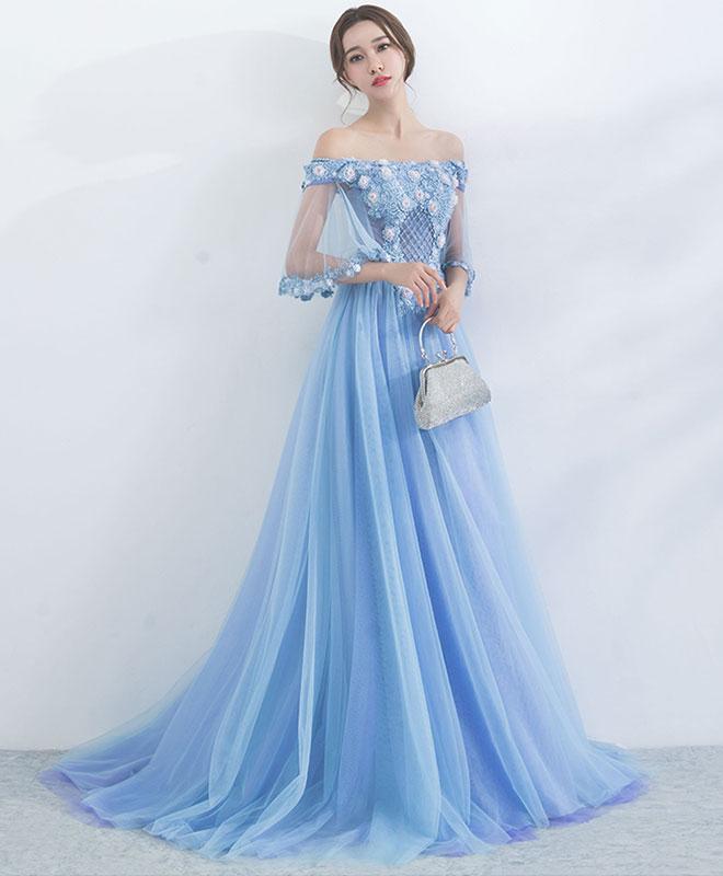 Unique blue tulle off shoulder long prom dress, blue evening dress ...