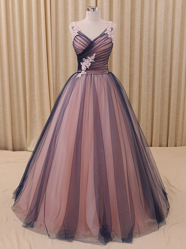 88e1842a87616 FREE Shipping Charming A-Line V-Neck Navy Blue Princess Tulle Ball Gown  Formal Evening Dress