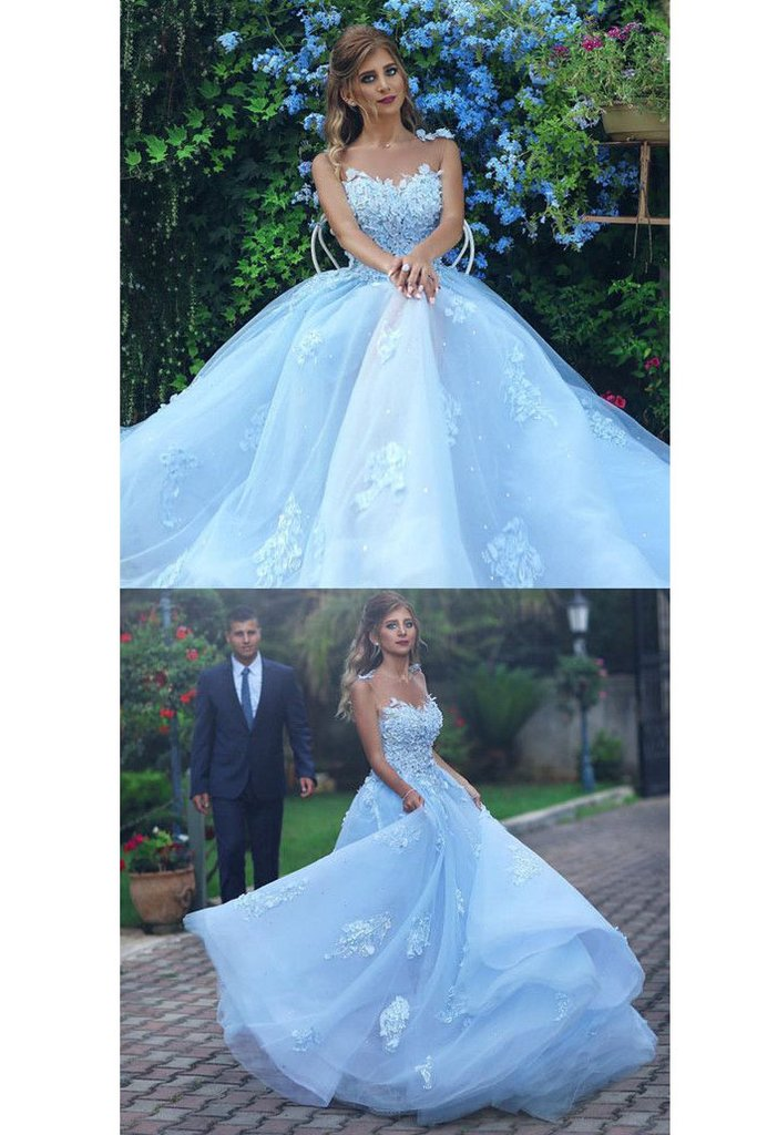 c495986d60cf3 Z235 Sky Blue Ball Gown Sexy Custom Made Charming Prom Dress,Prom Dresses, Prom
