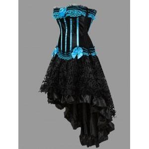 Two Piece Flounce Plus Size Corset Dress - Light Blue · Bold ...