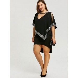1bf90192c37 Plus Size Glittery Capelet Dress - Black · Bold and Beautiful ...