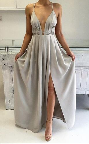 Elegant A Line V Neck Silver Prom Dress Formal Evening Dress On Storenvy