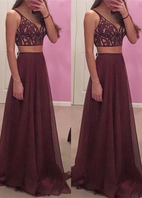 20b72a29ff2 Burgundy V Neck Prom Dresses Lace Appliques Beaded Party Dress 2018  Backless Long Evening Gowns Ribbon
