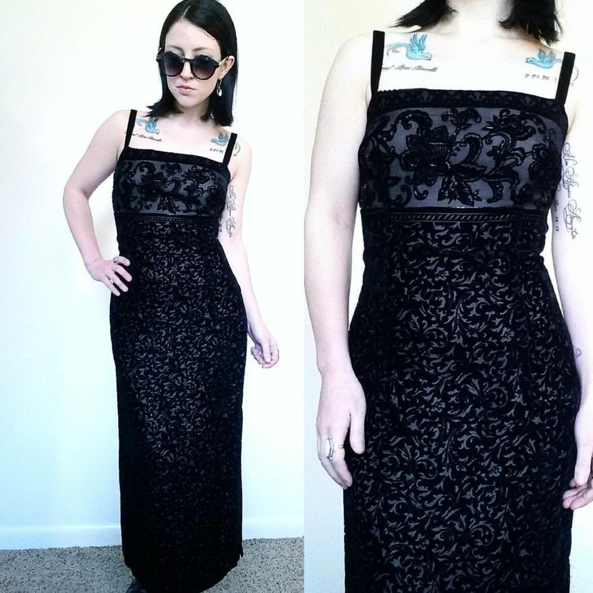 fb5f7c516fb 90 s Black Floral Velvet Maxi Dress - Vintage GRUNGE PROM Dress ...