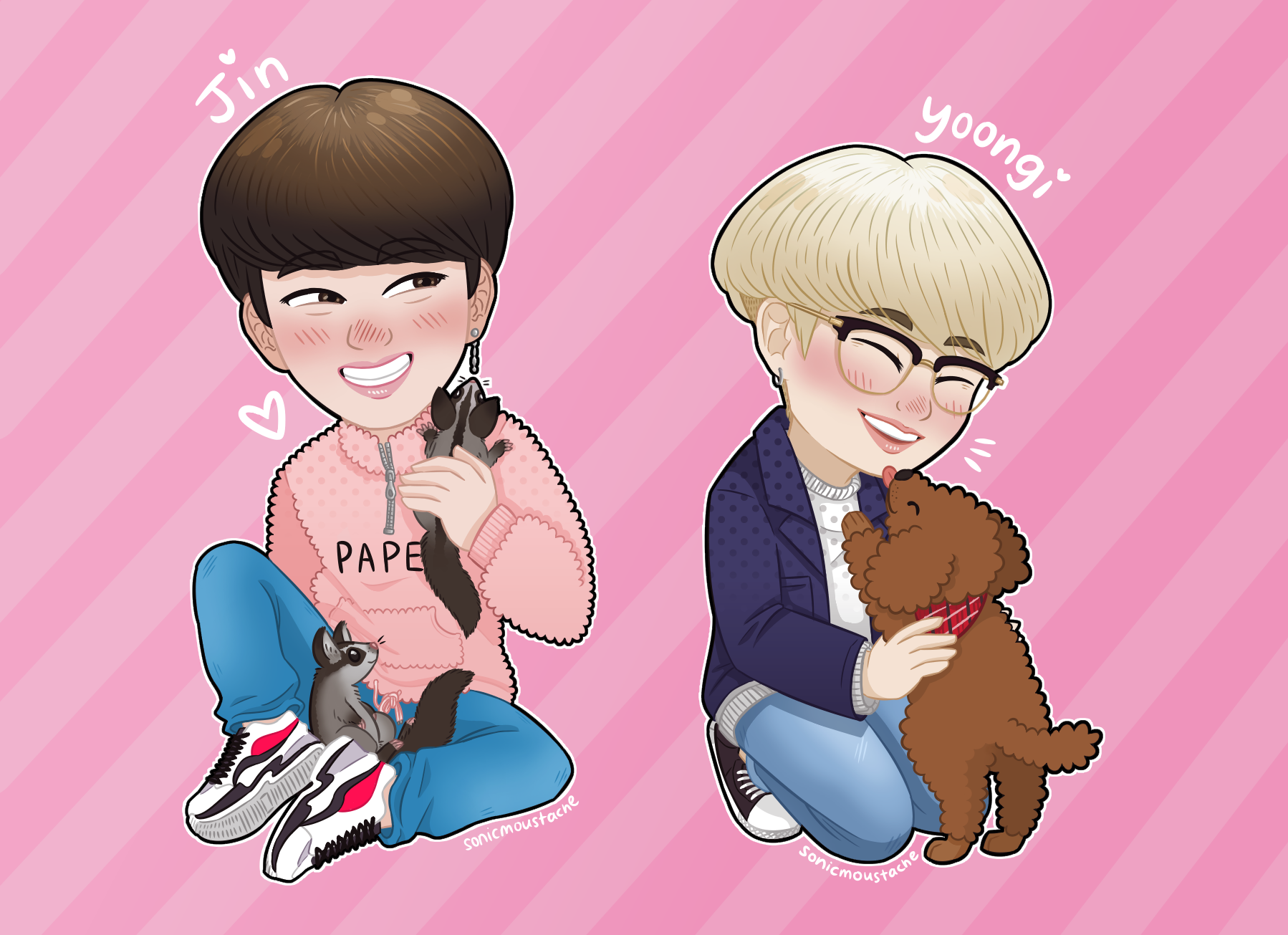BTS Jin & Suga With Pets Charm sold by buff frogs anonymous