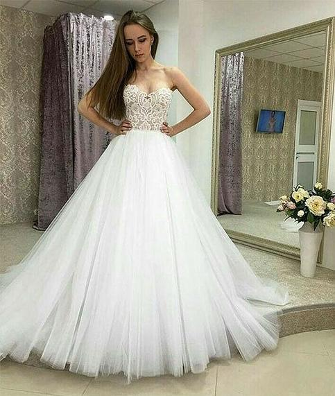 White Wedding Gowns In Chennai: Modern A Line Sweetheart Beaded Long White Tulle Wedding