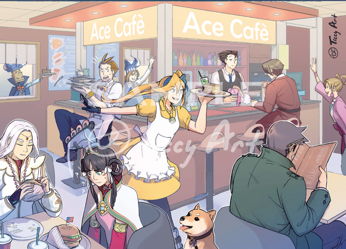 ace attorney official art cafe