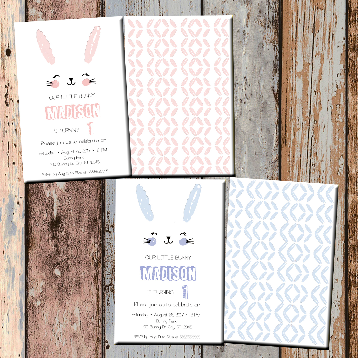 Bunny Personalized Birthday Invitation 2 Sided Card Party Easter