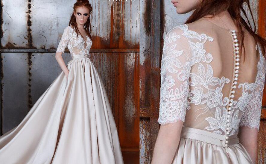 c28d68fae6 Elegant Appliques Lace Half Sleeve Prom Dress Formal Gown FP002 - Thumbnail  1 ...