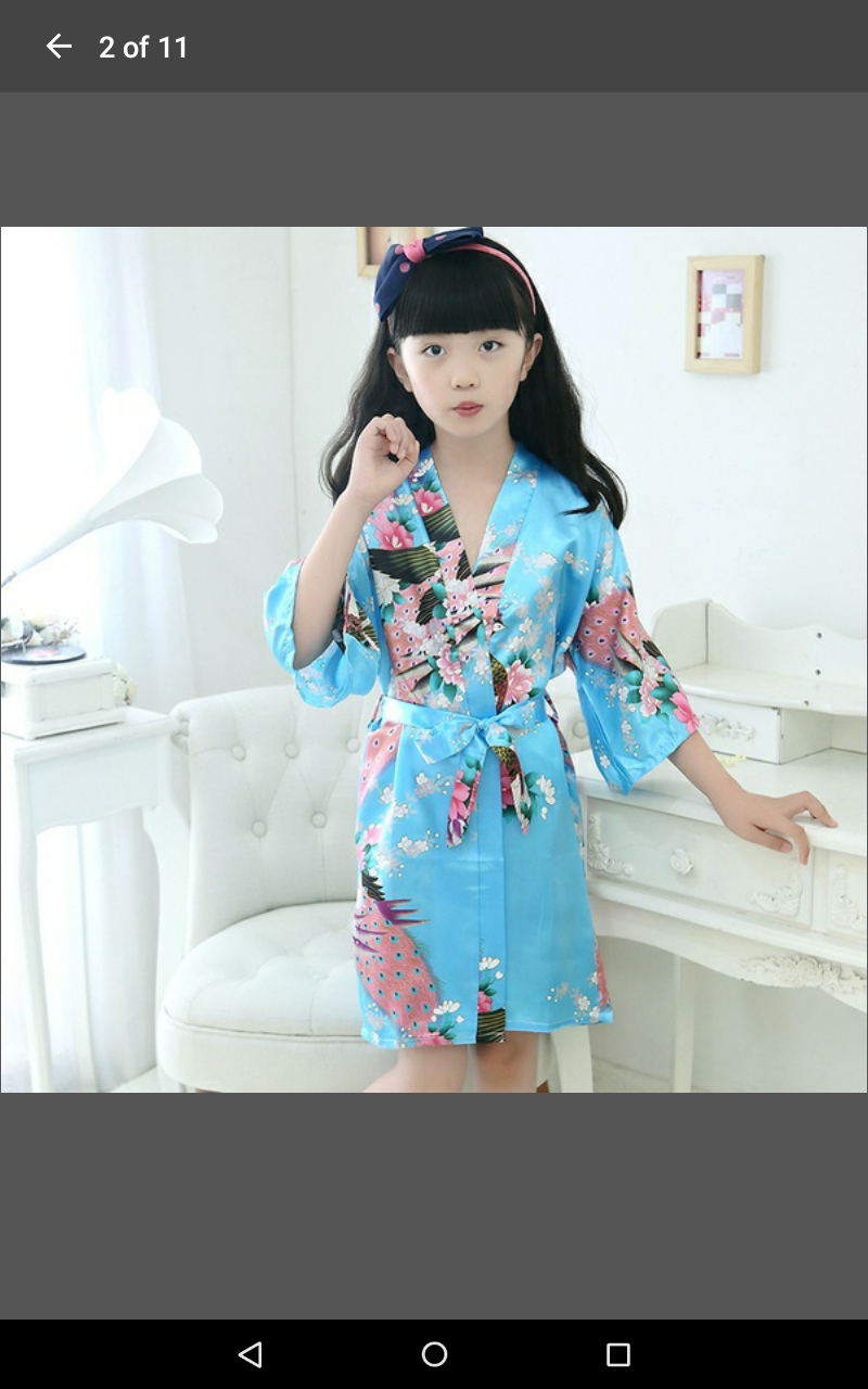 db38a9fc02 Light Blue Girls Satin Floral Kimono Robe (12) on Storenvy