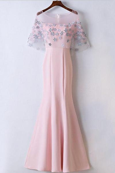 2b0f38e94 Baby Pink Mermaid Prom Dress Long Evening Dress