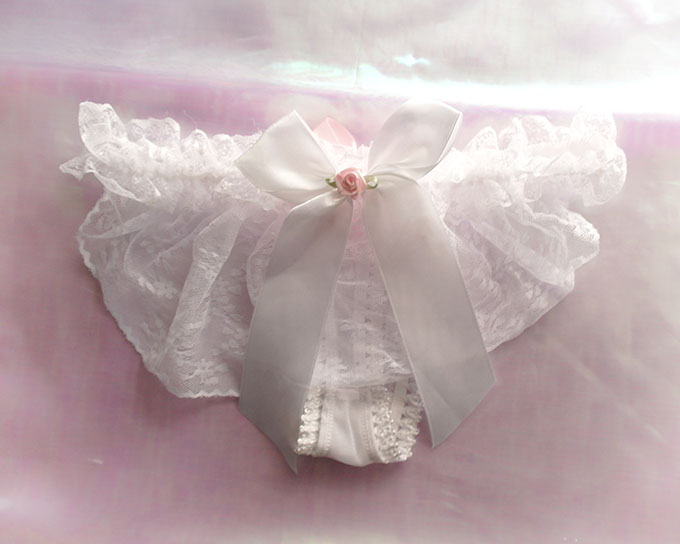 0d2de85f4273 ... Daddys Girl Lingerie Ruffles White Lace Thong Pantie Pink Bow O Ring  Back White Bow Rose ...