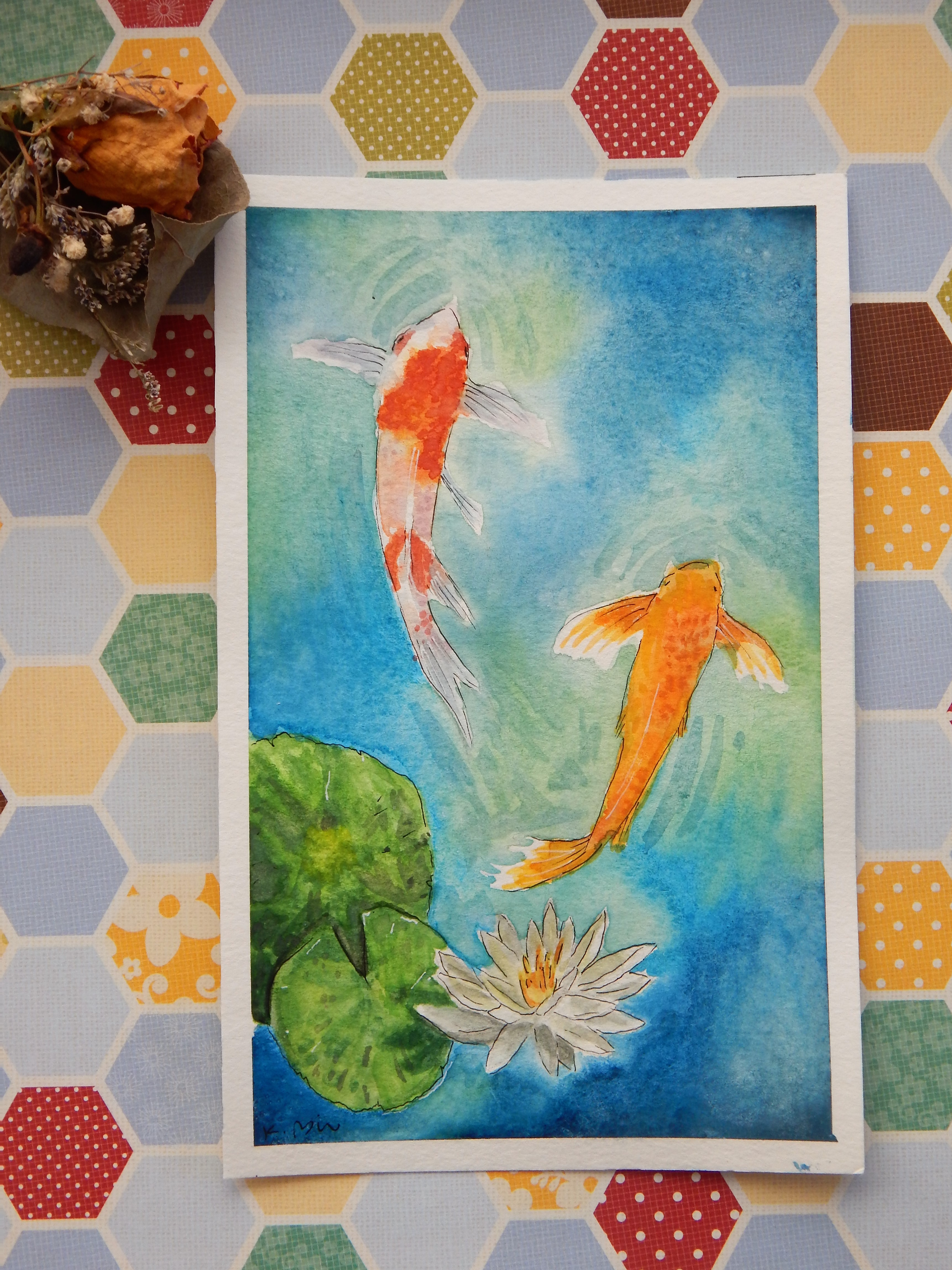 Watercolor Koi Fish Painting Sold By Kayterpae Art On Storenvy