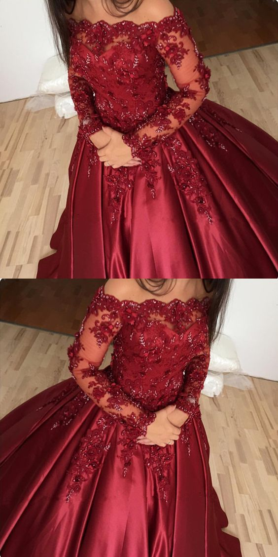 Burgundy Prom Dress Off Shoulder Ball Gowns Lace Long