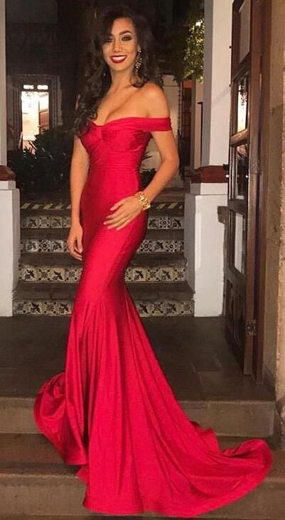 Gorgeous Off The Shoulder Prom Dress Red Mermaid Sexy Evening Dress Long Prom Dress Floor