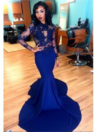 3f3ce82fff6 Glamorous Long Sleeve Mermaid Prom Dress