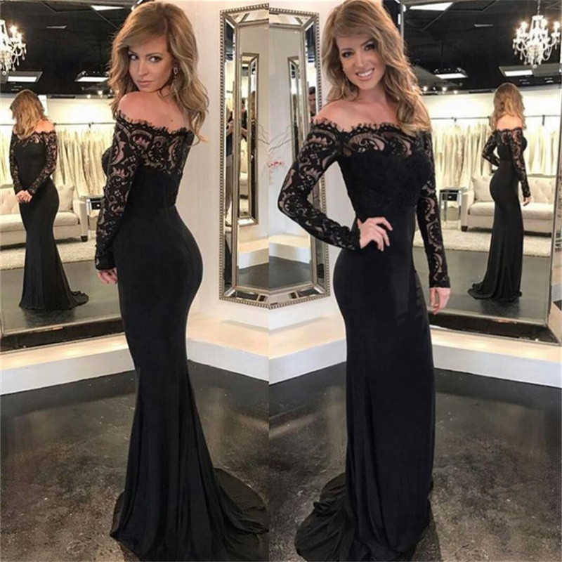 Sexy Mermaid Off The Shoulder Long Sleeves Black Long Prom Dress