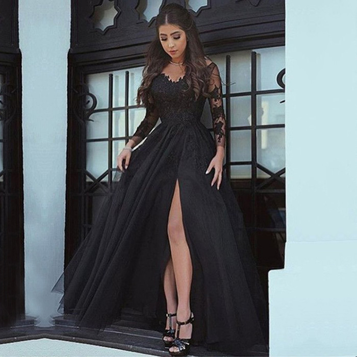 8e55950255 Elegant A Line V Neck Backless Long Sleeves Slit Black Lace Tulle Prom Evening  Dress on Storenvy